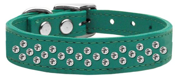 """3/4"""" wide genuine leather adorned with premium rim set crystals in our Sprinkles pattern.-Jade"""