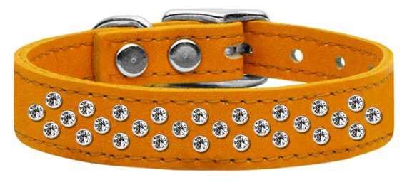 """3/4"""" wide genuine leather adorned with premium rim set crystals in our Sprinkles pattern.-Mandarin"""