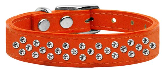 """3/4"""" wide genuine leather adorned with premium rim set crystals in our Sprinkles pattern.-Orange"""