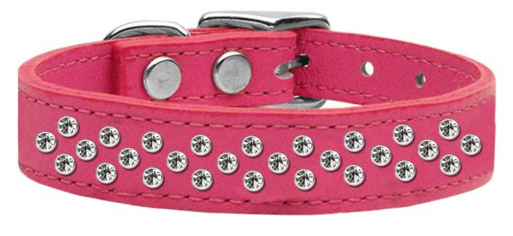 """3/4"""" wide genuine leather adorned with premium rim set crystals in our Sprinkles pattern.-Pink"""