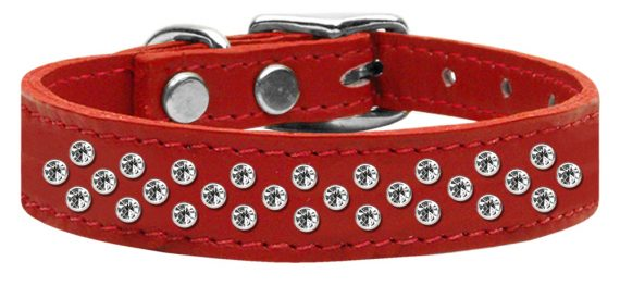 """3/4"""" wide genuine leather adorned with premium rim set crystals in our Sprinkles pattern.-Red"""