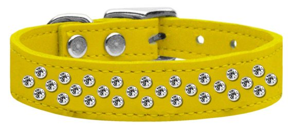 """3/4"""" wide genuine leather adorned with premium rim set crystals in our Sprinkles pattern.-Yellow"""