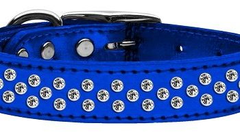 "3/4"" wide metallic genuine leather adorned with premium rim set crystals in our Sprinkles pattern.-Blue"