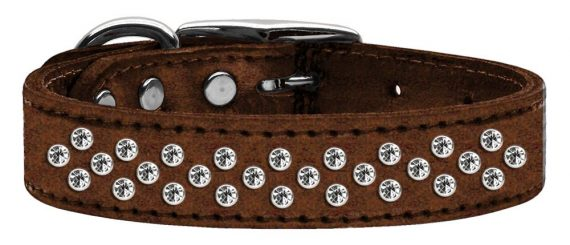 """3/4"""" wide metallic genuine leather adorned with premium rim set crystals in our Sprinkles pattern.-Bronze"""