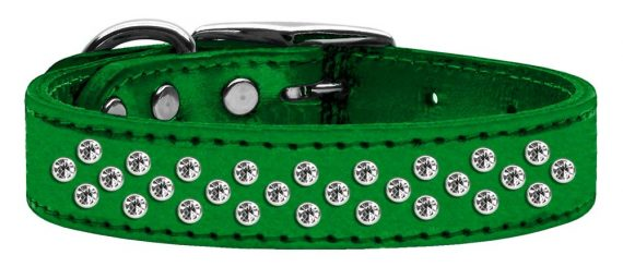 """3/4"""" wide metallic genuine leather adorned with premium rim set crystals in our Sprinkles pattern.-Emerald Green"""