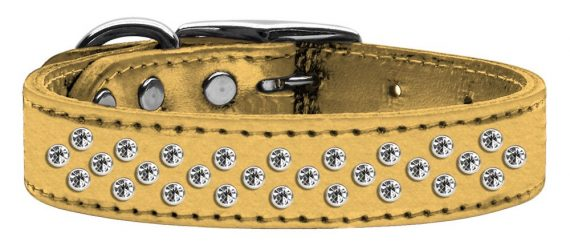 """3/4"""" wide metallic genuine leather adorned with premium rim set crystals in our Sprinkles pattern.-Gold"""