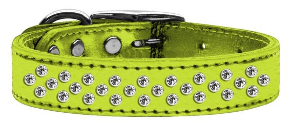 """3/4"""" wide metallic genuine leather adorned with premium rim set crystals in our Sprinkles pattern.-Lime Green"""