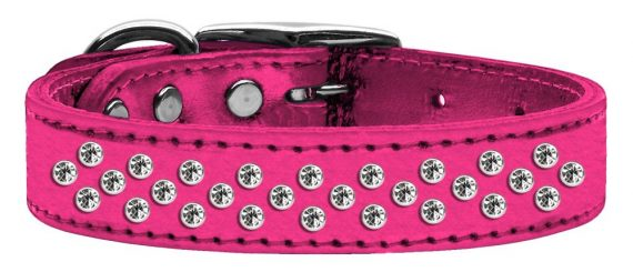 """3/4"""" wide metallic genuine leather adorned with premium rim set crystals in our Sprinkles pattern.-Pink"""