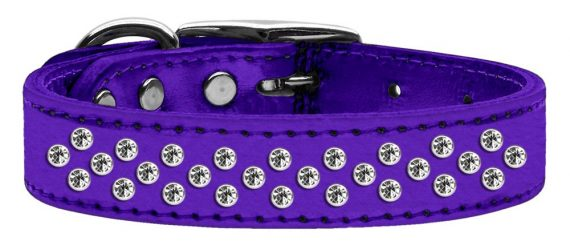 """3/4"""" wide metallic genuine leather adorned with premium rim set crystals in our Sprinkles pattern.-Purple"""