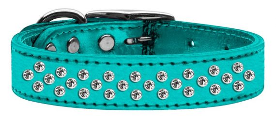 """3/4"""" wide metallic genuine leather adorned with premium rim set crystals in our Sprinkles pattern.-Turquoise"""