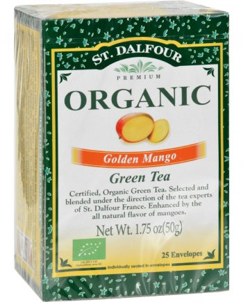 St Dalfour Organic Green Tea Golden Mango - 25 Tea Bags - Case of 6