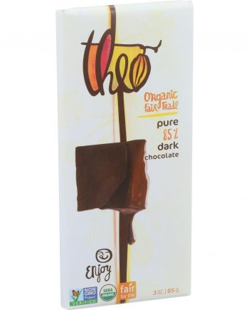Theo Chocolate Organic Chocolate Bar - Classic - Dark Chocolate - 85 Percent Cacao - Pure - 3 oz Bars - Case of 12