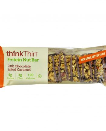 Think Products thinkThin Crunch Bar - Crunch Caramel Chocolate Dipped Mixed Nuts - 1.41 oz - Case of 10