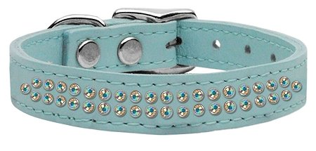 "3/4"" wide genuine leather adorned with 2 rows of premium rim set Aurora Borealis crystals.-Blue"