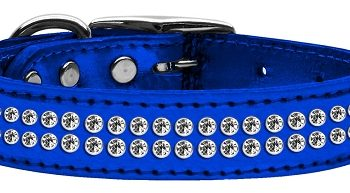 "3/4"" wide metallic genuine leather adorned with 2 rows of premium rim set crystals.-"
