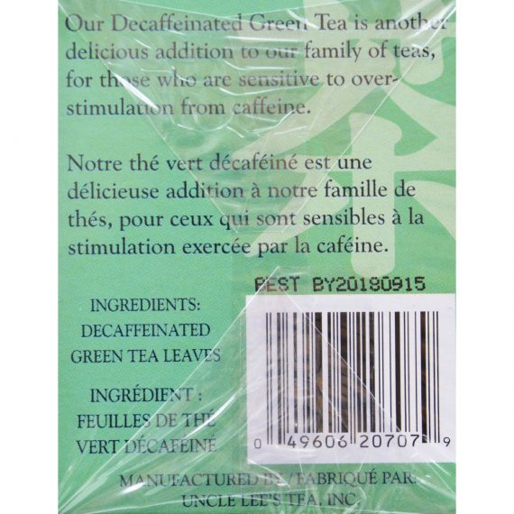 Uncle Lee's Tea Decaffeinated Green Tea – Case of 6 – 20 Bags