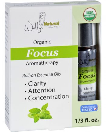 Wallys Natural Products Aromatherapy Blend - Organic - Roll-On - Essential Oils - Focus - .33 oz