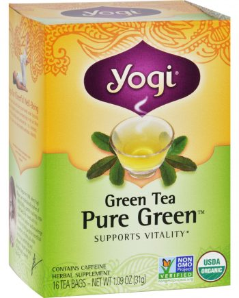 Yogi Organic Pure Green Herbal Tea - 16 Tea Bags - Case of 6