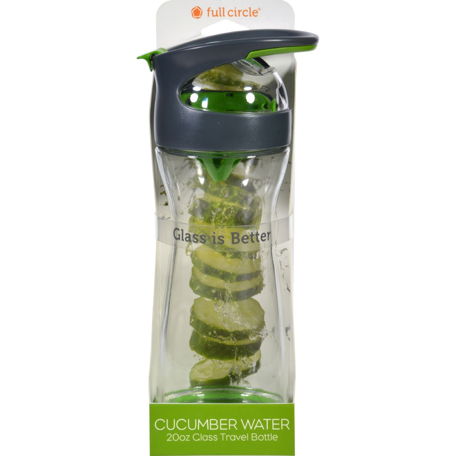 Full Circle Home Cucumber Water Bottle - Travel - Glass ... Full Glass Of Water Ounces