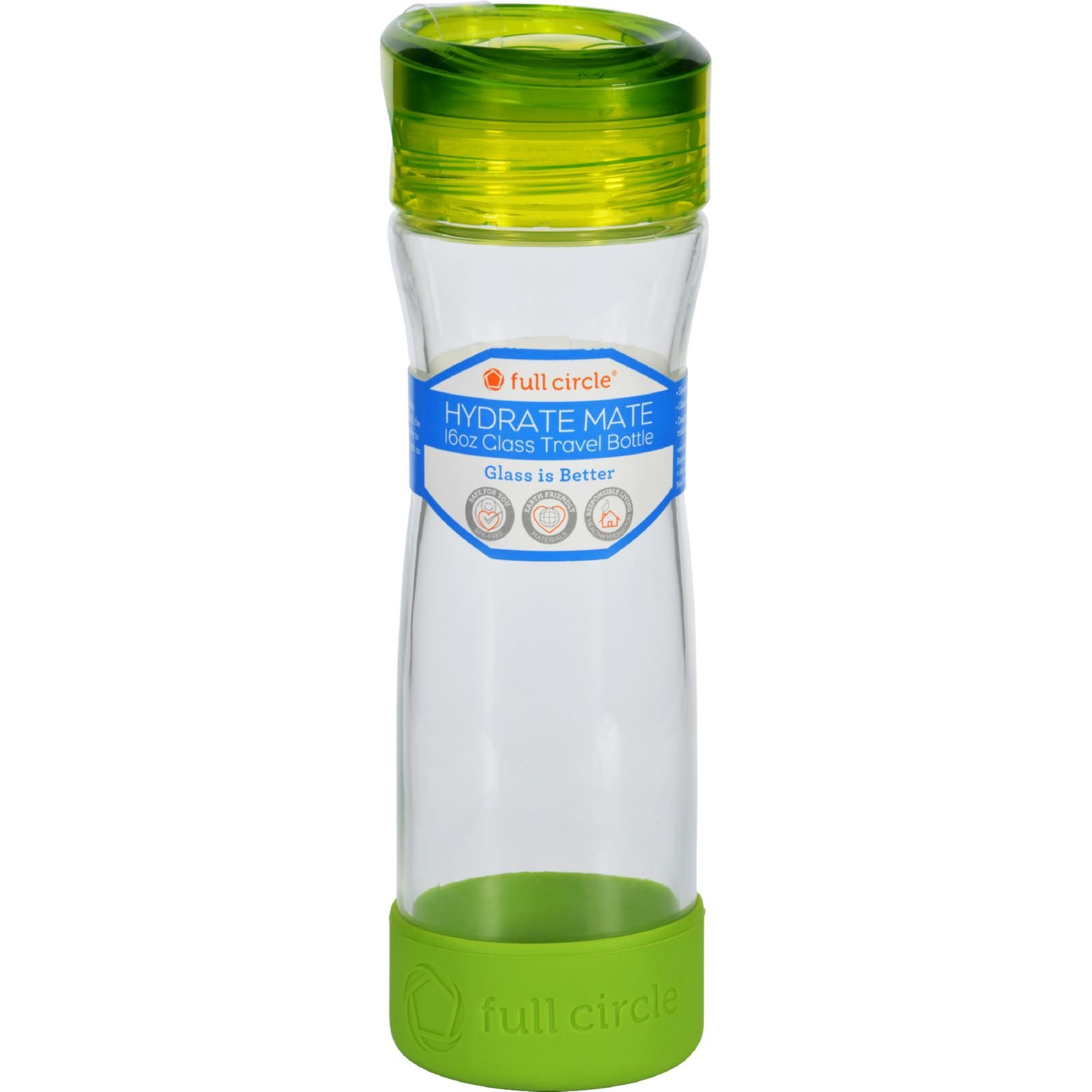 Full Circle Home Water Bottle - Travel - Glass - Hydrate ... Full Glass Of Water Ounces