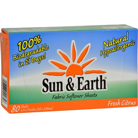 Sun and Earth Natural Fabric Softener Sheets – Light Citrus – 80 Sheets – Case of 6