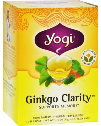 Yogi Ginkgo Clarity Herbal Tea Caffeine Free - 16 Tea Bags - Case of 6