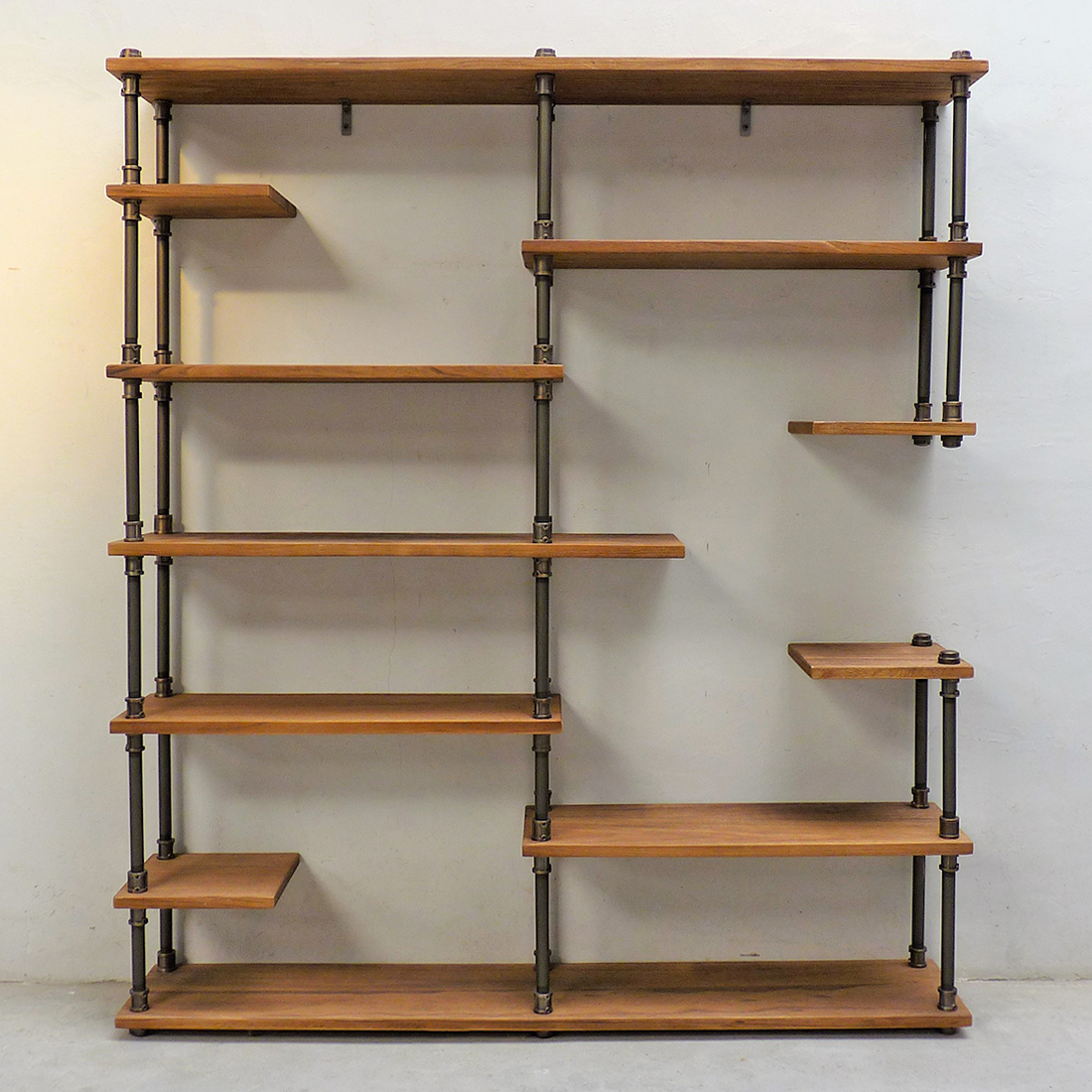Nashville Industrial Mid Century 64 Inch Wide Large Open Etagere 11 Shelf Pipe Bookcase Metal With Reclaimed Wood Finish